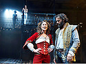The Rover by Aphra Behn, A Royal Shakespeare Company Production directed by Loveday Ingram. With Alexandra Gilbreath as Angellica Bianca [on balcony] , Faye Castelow as Hellena. Joseph Millson as Willmore. Opens at The Swan Theatre, Stratford Upon Avon on 15/9/16. CREDIT Geraint Lewis