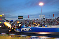 May 31, 2013; Englishtown, NJ, USA: NHRA top fuel dragster driver T.J. Zizzo during qualifying for the Summer Nationals at Raceway Park. Mandatory Credit: Mark J. Rebilas-