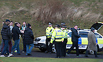 St Johnstone v Celtic.....26.12.13   SPFL<br /> Police Scotland officers checking Celtic fans as they arrive at McDiarmid Park<br /> Picture by Graeme Hart.<br /> Copyright Perthshire Picture Agency<br /> Tel: 01738 623350  Mobile: 07990 594431