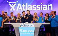 New York, Dec 10, 2015. Atlassian co-founders Scott Farquhar (left) and Mike Cannon-Brookes with their families and senior staff during the opening bell ringing ceremony before their company was listed on the Nasdaq. to go with John Kehoe story. photo by Trevor Collens.
