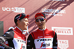 Toms Skujins (LAT) and Bauke Mollema (NED) Trek-Segafredo at sign on before the start of Strade Bianche 2019 running 184km from Siena to Siena, held over the white gravel roads of Tuscany, Italy. 9th March 2019.<br /> Picture: Seamus Yore   Cyclefile<br /> <br /> <br /> All photos usage must carry mandatory copyright credit (© Cyclefile   Seamus Yore)