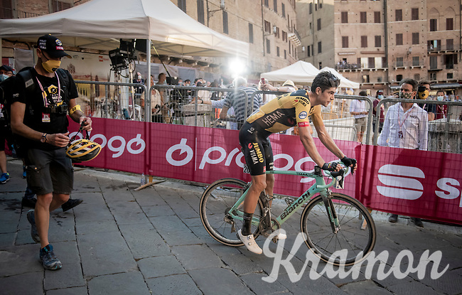 Wout Van Aert (BEL/Jumbo-Visma) after winning the 14th Strade Bianche 2020 after finishing 3rd twice in his 2 previous attemps at the race.<br /> Siena > Siena: 184km (ITALY)<br /> <br /> delayed 2020 (summer!) edition because of the Covid19 pandemic > 1st post-Covid19 World Tour race after all races worldwide were cancelled in march 2020 by the UCI