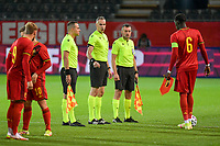 assistant referee Iordanis Aptosoglou from Greece , referee Athanasios Tzilos from Greece and assistant referee Tryfon Petropoulos from Greece pictured before a soccer game between the national teams Under21 Youth teams of Belgium and Denmark on the fourth matday in group I for the qualification for the Under 21 EURO 2023 , on tuesday 12 th of october 2021  in Leuven , Belgium . PHOTO SPORTPIX   STIJN AUDOOREN