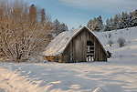 Idaho, North Central, Moscow, Sanders. An old barn amongst the snow covered landscape of the Palouse in evening light.