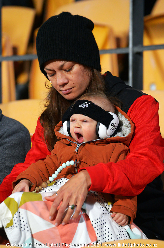 A young fan prepares for a late night during the Steinlager Series rugby match between the Maori All Blacks and Manu Samoa at Mt Smart Stadium in Auckland, New Zealand on Saturday, 3 July 2021. Photo: Dave Lintott / lintottphoto.co.nz