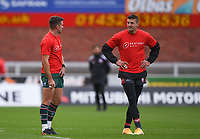 30th August 2020; Kingsholm Stadium, Gloucester, Gloucestershire, England; English Premiership Rugby, Gloucester versus Leicester Tigers; George Ford of Leicester Tigers chats with Jonny May of Gloucester before kick off