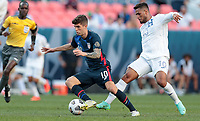 DENVER, CO - JUNE 3: Christian Pulisic #10 of the United States moves towards the goal during a game between Honduras and USMNT at EMPOWER FIELD AT MILE HIGH on June 3, 2021 in Denver, Colorado.