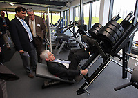 Pictured: Richard B Davies lifts one of the weights in the gymnasium Tuesday 04 April 2017<br />Re: Official opening of the Fairwood Training Complex of Swansea City FC, Wales, UK