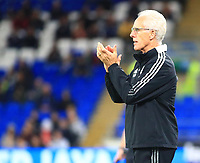 28th September 2021; Cardiff City Stadium, Cardiff, Wales;  EFL Championship football, Cardiff versus West Bromwich Albion; Mick McCarthy, Manager of Cardiff City offers encouragement during the first half