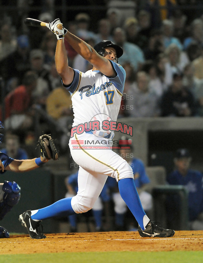 April 9, 2009: Outfielder Cody Johnson (17) of the Myrtle Beach Pelicans, Class A affiliate of the Atlanta Braves, hits on 2009 opening day at BB&T Coastal Field in Myrtle Beach, S.C. Photo by:  Tom Priddy/Four Seam Images