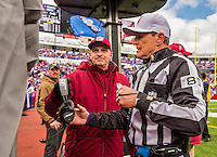 19 October 2014: NFL referee Ed Hochuli prepres to review a first quarter play between the Buffalo Bills and the Minnesota Vikings at Ralph Wilson Stadium in Orchard Park, NY. The Bills defeated the Vikings 17-16 in a dramatic, last minute, comeback touchdown drive. Mandatory Credit: Ed Wolfstein Photo *** RAW (NEF) Image File Available ***