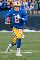 Pitt quarterback Kenny Pickett. The Pitt Panthers defeated the Virginia Tech Hokies 52-22 on November 10, 2018 at Heinz Field in Pittsburgh, Pennsylvania.