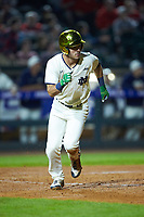 Jake Shepski (0) of the Notre Dame Fighting Irish hustles down the first base line against the Louisville Cardinals in Game Eight of the 2017 ACC Baseball Championship at Louisville Slugger Field on May 25, 2017 in Louisville, Kentucky. The Cardinals defeated the Fighting Irish 10-3. (Brian Westerholt/Four Seam Images)