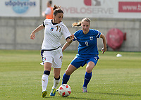 20180305 - LARNACA , CYPRUS : Italian Linda Tucceri Cimini (left) pictured with Finnish Juliette Kemppi (right) during a women's soccer game between Finland and Italy , on monday 5 March 2018 at the AEK Arena in Larnaca , Cyprus . This is the third game in group A for Finland and Italy during the Cyprus Womens Cup , a prestigious women soccer tournament as a preparation on the World Cup 2019 qualification duels. PHOTO SPORTPIX.BE | DAVID CATRY