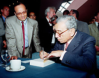 Ottawa, September 13, 1998 File Photo<br /> United Nation General Secretary ;  Dr. Boutros Boutros-Ghali sgning his book in Ottawa (Ontario, Canada)<br /> After speaking at the ``Mondial`` (a gathering of young francophone business people from all over the world)<br /> <br /> Photo by Pierre Roussel, © 1998