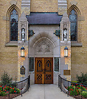 """Oct. 13, 2014; Basilica east door, with the inscription """"God Country Notre Dame."""" (Photo by Matt Cashore/University of Notre Dame)"""