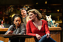 """London, UK. 11.06.2019. The Donmar production of Lynn Nottage's """"Sweat"""" opens at the Gielgud Theatre, in London's West End. Directed by Lynette Lynton, with lighting design by Oliver Fenwick, design by Frankie Bradshaw, movement direction by Polly Bennett, fight direction by Kate Waters, and sound design by George Dennis. The cast are: Martha Plimpton (Tracey), Clare Perkins (Cynthia), Leanne Best (Jessie), Patrick Gibson (Jason), Osy Ikhile (Chris), Wil Johnson (Brucie), Stuart McQuarrie (Stan), Sebastian Capitan Viveros (Oscar), Sule Rimi (Evan). Picture shows: Clare Perkins (Cynthia), Stuart McQuarrie (Stan), Martha Plimpton (Tracey). Photograph © Jane Hobson."""