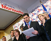 Quebec City, March 14, 2007 - Flanked by his Quebec City area candidates, Mario Dumont talks about the internal documents related to the Laval overpass as he visit Charlesbourg riding in the Quebec city suburb, March 14, 2007.<br /> <br /> PHOTO :  Francis Vachon - Agence Quebec Presse