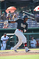 Henry Castillo (24) of the Visalia Rawhide bats against the Inland Empire 66ers at San Manuel Stadium on June 26, 2016 in San Bernardino, California. Inland Empire defeated Visalia, 5-1. (Larry Goren/Four Seam Images)