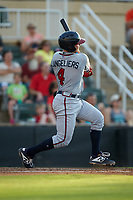 Shea Langeliers (4) of the Rome Braves follows through on his swing against the Kannapolis Intimidators at Kannapolis Intimidators Stadium on July 2, 2019 in Kannapolis, North Carolina.  The Intimidators walked-off the Braves 5-4. (Brian Westerholt/Four Seam Images)