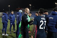 WIENER NEUSTADT, AUSTRIA - MARCH 25: USMNT head coach Gregg Berhalter celebrates with Kellyn Acosta #10 of the United States during a game between Jamaica and USMNT at Stadion Wiener Neustadt on March 25, 2021 in Wiener Neustadt, Austria.