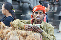 Selling coconut for offerings during dashein festival time in Bhaktapur, Nepal. October 2011.The coconut as part of the offerings  stands for a human head, in earlier times not only animals but sometimes humans also were sacrificed for goddess Durga, the last time  in early 19th century.