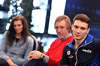 Roma 13-3-2019 Centro Federale di Ostia <br /> Swimmer Manuel Bortuzzo (c), his mother Rossella Corona (1L) and his father Franco (2L) during a meeting with the press. Manuel Bortuzzo was shot in the back due to a mistaken identity and is paralysed from the waist down since then. This is the first outing of Manuel from the hospital and the rehabilitation center.  <br /> Foto Andrea Staccioli / Deepbluemedia / Insidefoto