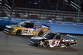 #51: Harrison Burton, Kyle Busch Motorsports, Toyota Tundra DEX Imaging and #19: Derek Kraus, Bill McAnally Racing, Toyota Tundra NAPA Auto Parts