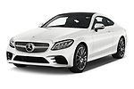 2019 Mercedes Benz C-Class AMG-Line 2 Door Coupe Angular Front stock photos of front three quarter view