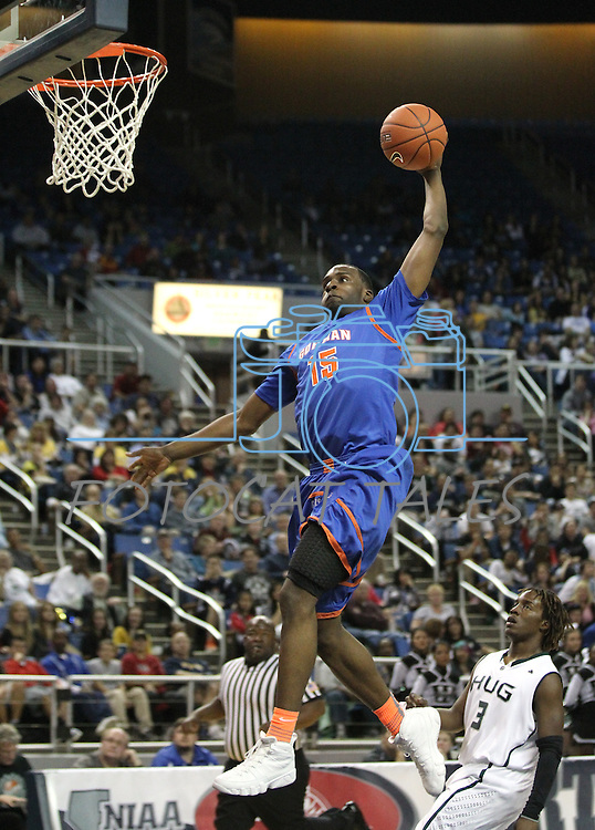 Bishop Gorman's Shabazz Muhammad slam dunks during the NIAA 4A State Basketball Championship game between Bishop Gorman and Hug high schools at Lawlor Events Center, in Reno, Nev, on Friday, Feb. 24, 2012. .Photo by Cathleen Allison