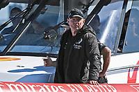 13th March 2021; Waitemata Harbour, Auckland, New Zealand;  Team NZ CEO Grant Dalton looks on, Emirates Team New Zealand v Luna Rossa Prada Pirelli. Race 5, Day 3 of the America's Cup presented by Prada. Auckland, New Zealand, Saturday the 13th of March 2021.