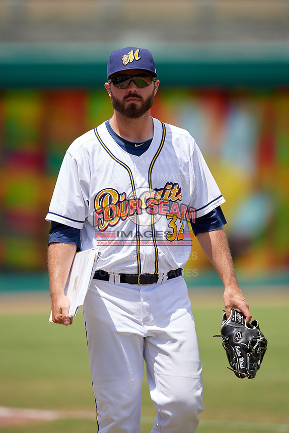 Montgomery Biscuits pitcher Blake Bivens (32) after a Southern League game against the Mobile BayBears on May 2, 2019 at Riverwalk Stadium in Montgomery, Alabama.  Mobile defeated Montgomery 3-1.  (Mike Janes/Four Seam Images)
