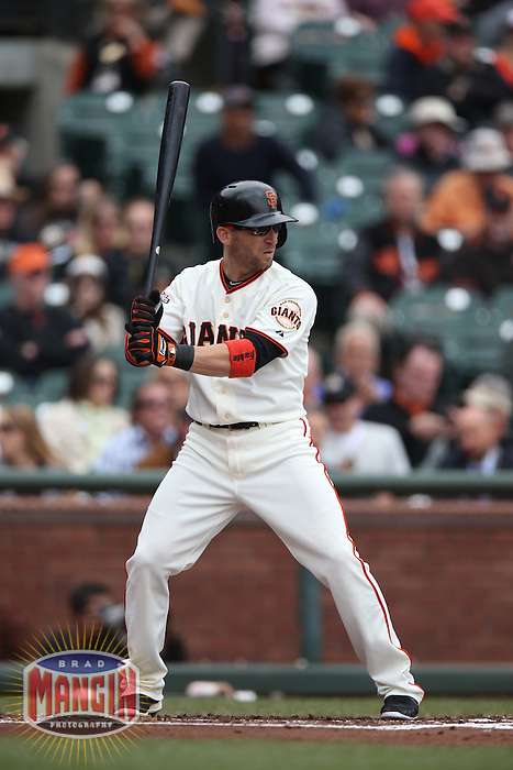 SAN FRANCISCO, CA - MAY 8:  Marco Scutaro 19 of the San Francisco Giants bats against the Philadelphia Phillies during the game at AT&T Park on Wednesday, May 8, 2013 in San Francisco, California. Photo by Brad Mangin