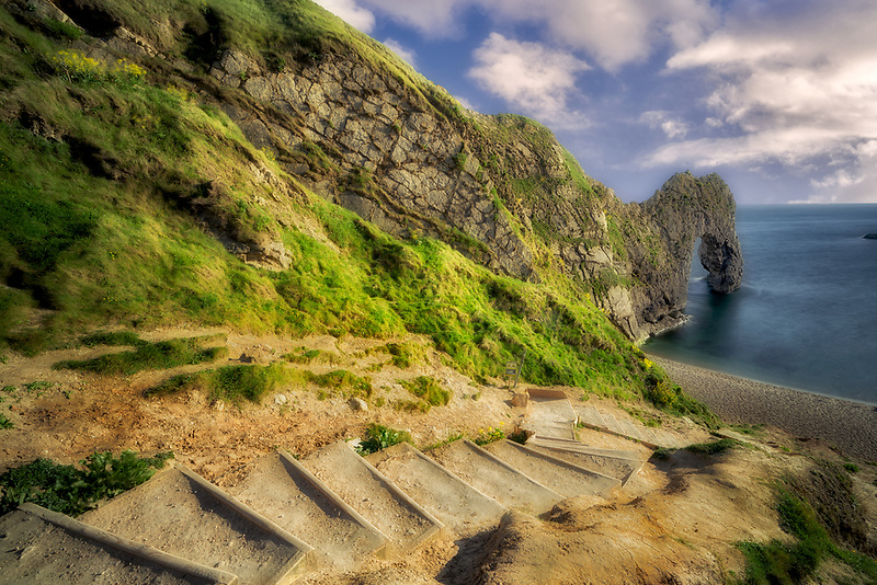 Steps leading to Durdle Door Arch. Dorset. Jurassic Coast, England
