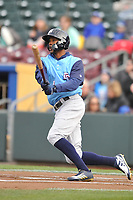 Colorado Springs Sky Sox center fielder Keon Broxton (9) swings at a pitch against the Omaha Storm Chasers at Werner Park on April 5, 2018 in Omaha, Nebraska. The Sky Sox won 3-1.  (Dennis Hubbard/Four Seam Images)