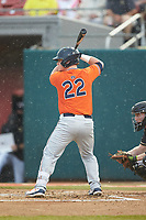 Brett Wright (22) of the Auburn Tigers at bat against the Army Black Knights at Doak Field at Dail Park on June 2, 2018 in Raleigh, North Carolina. The Tigers defeated the Black Knights 12-1. (Brian Westerholt/Four Seam Images)