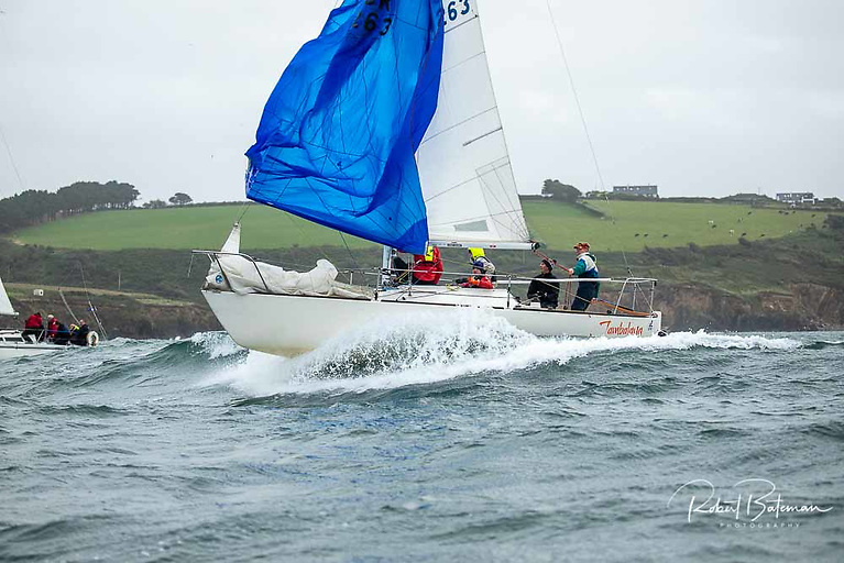 Royal Cork's club J/24 Jumbalaya surfs a wave in the first race of the Autumn League