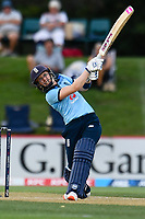 23rd February 2021, Christchurch, New Zealand;  Heather Knight  of England hits a 4 boundary during the 1st ODI Cricket match, New Zealand versus England, Hagley Oval, Christchurch, New Zealand
