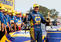 Jul. 28, 2013; Sonoma, CA, USA: NHRA funny car driver Ron Capps celebrates after winning the Sonoma Nationals at Sonoma Raceway. Mandatory Credit: Mark J. Rebilas-