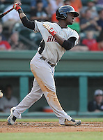 Infielder Odubel Herrera (2) of the Hickory Crawdads, Class A affiliate of the Texas Rangers, in a game against the Greenville Drive on July 1, 2011, at Fluor Field at the West End in Greenville, South Carolina. (Tom Priddy/Four Seam Images)