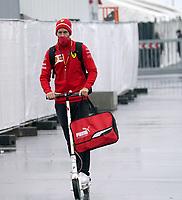 8th October 2020, Nuerburgring, Nuerburg, Germany; FIA Formula 1 Eifel Grand Prix;  Sebastian Vettel GER 5, Scuderia Ferrari arrives on a scooter