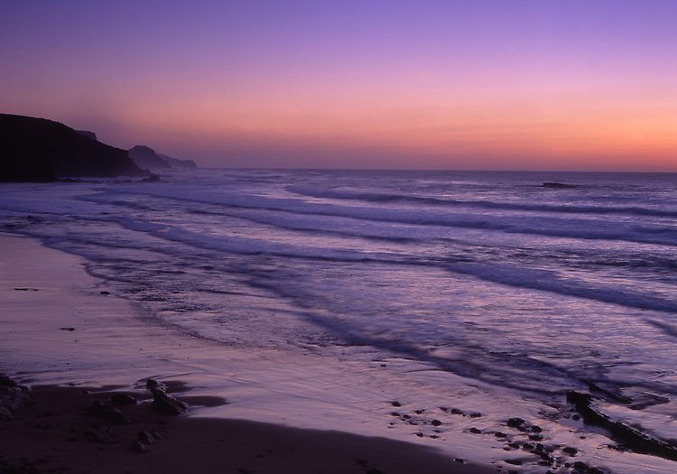 Europe, PRT, Portugal, Algarve, Landscape Southwestcoast, Beach, Waves, Twilight