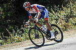 Bruno Armirail (FRA) Groupama-FDJ from the breakaway out front during Stage 2 of Criterium du Dauphine 2020, running 135km from Vienne to Col de Porte, France. 13th August 2020.<br /> Picture: ASO/Alex Broadway   Cyclefile<br /> All photos usage must carry mandatory copyright credit (© Cyclefile   ASO/Alex Broadway)
