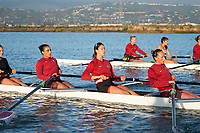 REDWOOD CITY, CA - APRIL 22: Women's Crew at Stanford Boathouse on April 22, 2021 in Redwood City, California.