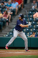 Binghamton Rumble Ponies starting pitcher David Peterson (27) at bat during an Eastern League game against the Richmond Flying Squirrels on May 29, 2019 at The Diamond in Richmond, Virginia.  Binghamton defeated Richmond 9-5 in ten innings.  (Mike Janes/Four Seam Images)