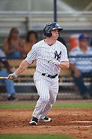 New York Yankees Jeff Hendrix (19) follows through on a swing during an Instructional League game against the Pittsburgh Pirates on September 29, 2017 at the Yankees Minor League Complex in Tampa, Florida.  (Mike Janes/Four Seam Images)