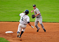 22 June 2009: Tri-City ValleyCats' shortstop Brandon Wikoff in action against the Vermont Lake Monsters at Historic Centennial Field in Burlington, Vermont. The Lake Monsters defeated the visiting ValleyCats 5-4 in extra innings. Mandatory Photo Credit: Ed Wolfstein Photo