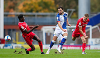 Blackburn Rovers' Ben Brereton vies for possession with Nottingham Forest's Sammy Ameobi and Ryan Yates<br /> <br /> Photographer Alex Dodd/CameraSport<br /> <br /> The EFL Sky Bet Championship - Blackburn Rovers v Nottingham Forest - Saturday 17th October 2020 - Ewood Park - Blackburn<br /> <br /> World Copyright © 2020 CameraSport. All rights reserved. 43 Linden Ave. Countesthorpe. Leicester. England. LE8 5PG - Tel: +44 (0) 116 277 4147 - admin@camerasport.com - www.camerasport.com