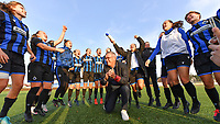 Head Coach Leo Van Der Elst (Brugge) pictured celebrating with his players after winning a female soccer game between Club Brugge Dames YLA and AA Gent Ladies on the sixth matchday of the 2020 - 2021 season of Belgian Scooore Womens Super League , saturday 7 th November 2020  in Knokke , Belgium . PHOTO SPORTPIX.BE | SPP | DAVID CATRY