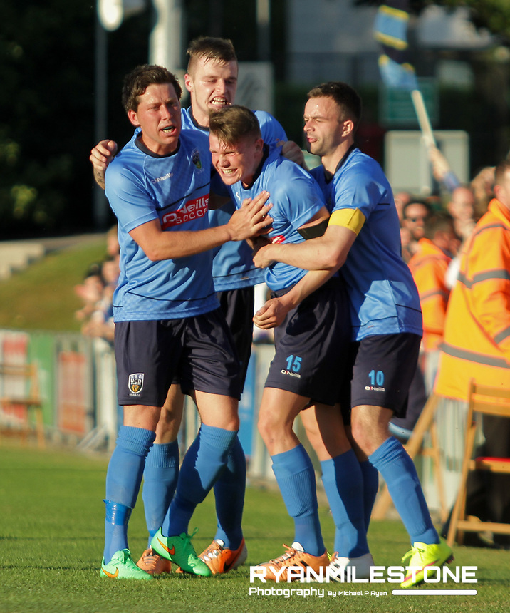 EVENT:<br /> UEFA Europa League, First Qualifying Round<br /> UCD v F91 Dudelange<br /> Thursday 2nd July 2015<br /> Belfield Bowl, Dublin<br /> <br /> CAPTION:<br /> Ryan Swan of UCD celebrates after scoring his sides first goal of the game with team-mates Jamie Doyle, Thomas Boyle and Robbie Benson.<br /> <br /> Photo By: Michael P Ryan